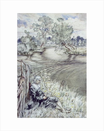 Izaak Walton reclining against a Fence by Arthur Rackham