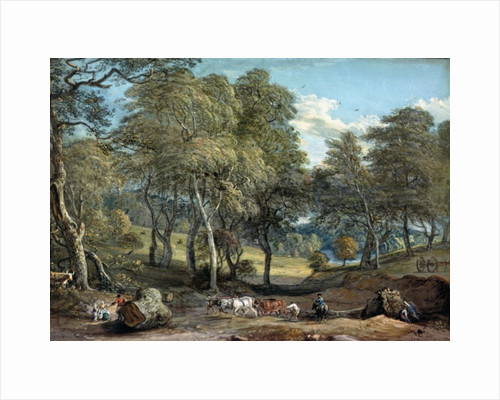 Windsor Forest with Oxen Drawing Timber by Paul Sandby