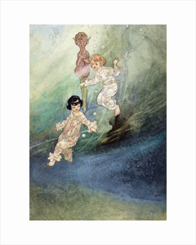 Untitled Watercolour, Children Underwater with an Elf by Charles Robinson