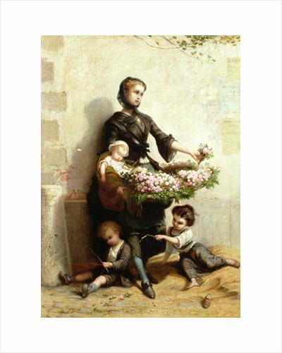 Victorian Flower Seller by Leopold de Moulignon
