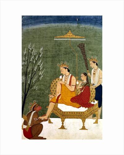 Seventh Incarnation of Vishnu as Rama-Chandra: Rama and Sita Reunited by Indian School