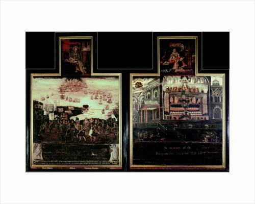 Diptych depicting the Arrival of Queen Elizabeth I (1530-1603) at Tilbury, the Defeat of the Spanish Armada and the Gunpowder Plot by English School