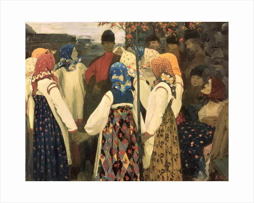 A lad has wormed his way into the girl's round dance by Andrei Petrovich Ryabushkin
