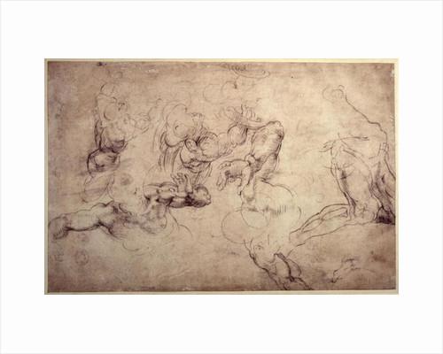 W.61v Male figure studies by Michelangelo Buonarroti