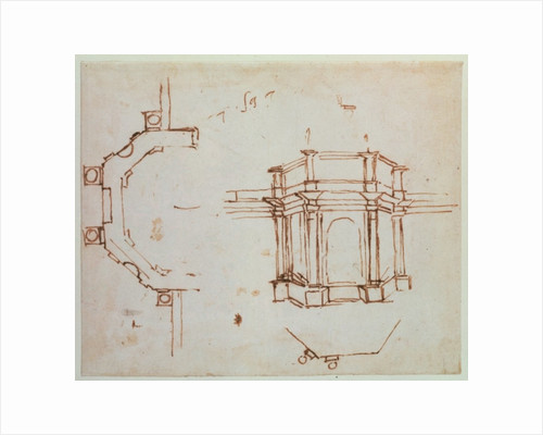 W.24r Architectural sketch by Michelangelo Buonarroti