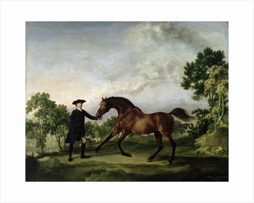 "The Duke of Ancaster's bay stallion ""Blank"", held by a groom by George Stubbs"