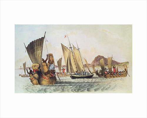 The English being welcomed ashore in the South Seas by Anonymous