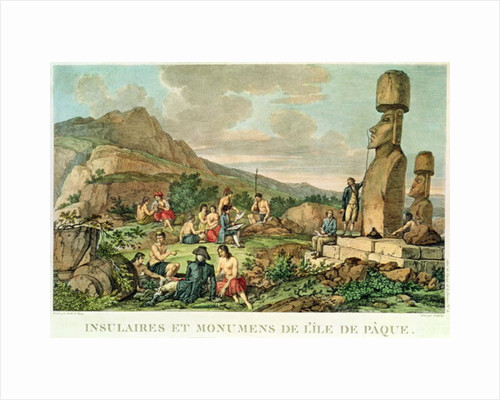 "Islanders and Monuments of Easter Island"" by Gaspard Duche de Vancy"