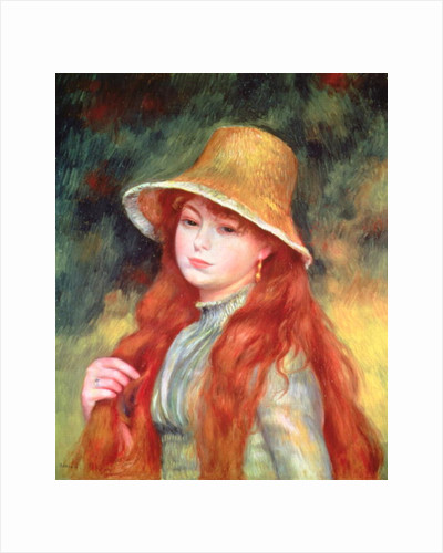 Young girl with long hair, or Young girl in a straw hat by Pierre Auguste Renoir