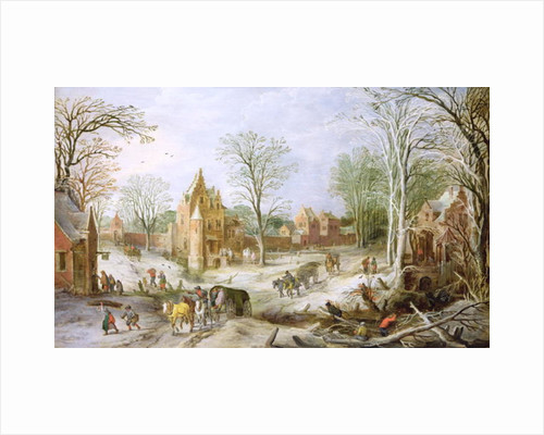 A wooded winter landscape with a cart by J. & Momper
