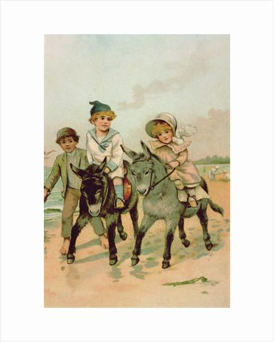 Children Riding Donkeys at the Seaside by Harriet M. Bennett