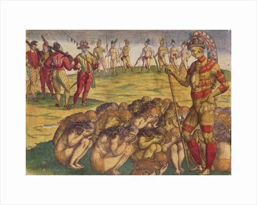 Capture of the Aztecs by the Spanish Colonists, book illustration by Theodore de Bry