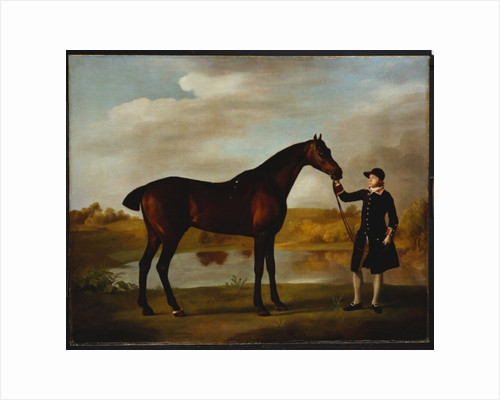 The Duke of Marlborough's Bay Hunter, with a Groom in Livery in a Lake Landscape by George Stubbs