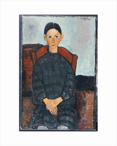 A Young Girl with a Black Overall, 1918 by Amedeo Modigliani