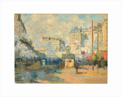Exterior of Saint-Lazare station, sunlight effect, 1877 by Claude Monet