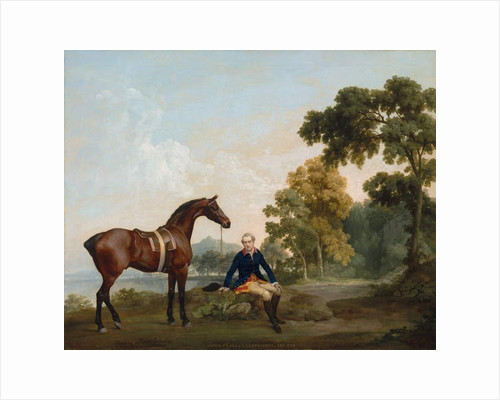 James Hamilton, 2nd Earl of Clanbrassil, with his bay hunter Mowbray, resting on a wooded path by a lake, 1765 by George Stubbs