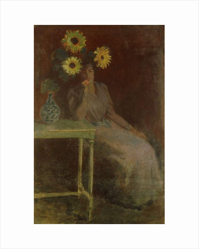 Suzanne with Sunflowers; Suzanne aux Soleils, c.1889 by Claude Monet