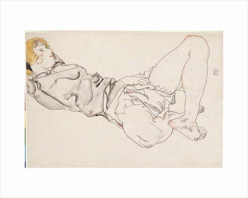 Reclining woman with blonde hair, 1912 by Egon Schiele