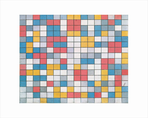 Checker board composition with light colours, 1919, by Piet Mondrian, oil on canvas. Netherlands, 20th century. by Piet Mondrian