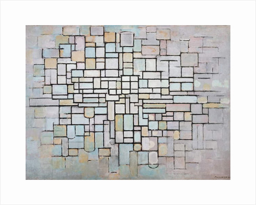 Composition No 11 in grey, pink and blue, 1913, by Piet Mondrian, oil on canvas. Netherlands, 20th century. by Piet Mondrian