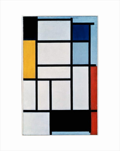 Composition with red, black, yellow, blue and grey, 1921, by Piet Mondrian, oil on canvas. Netherlands, 20th century. by Piet Mondrian