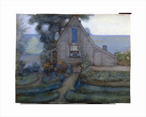 Triangulated Farmhouse Facade with Polder in Blue, c.1900 by Piet Mondrian