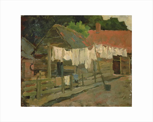 Farmhouse with Wash on the Line, c.1898 by Piet Mondrian