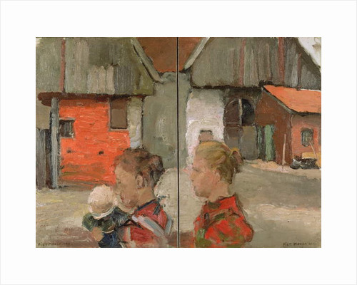 Rear Gables of Farm Buildings with Figures, 1898-99 by Piet Mondrian