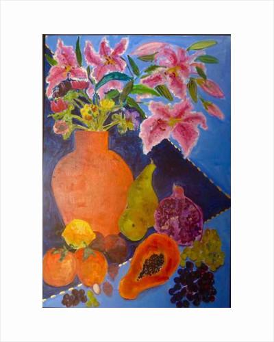 Lilies and papaya by Hilary Rosen