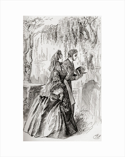 """Estella and Pip. """"I saw no shadow of another parting from her."""" Illustration by Harry Furniss for the Charles Dickens novel Great Expectations by Anonymous"""