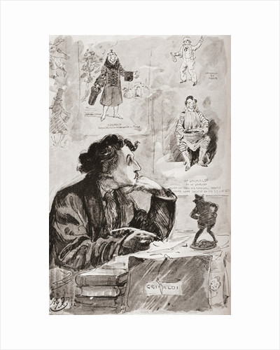 Memories of Grimaldi. Illustration by Harry Furniss for the Charles Dickens novel Memoirs of Joseph Grimaldi by Anonymous