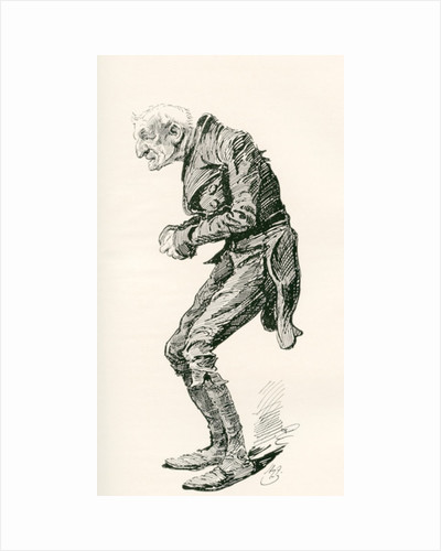 Old Chuffey. Illustration by Harry Furniss for the Charles Dickens novel Martin Chuzzlewit by Anonymous