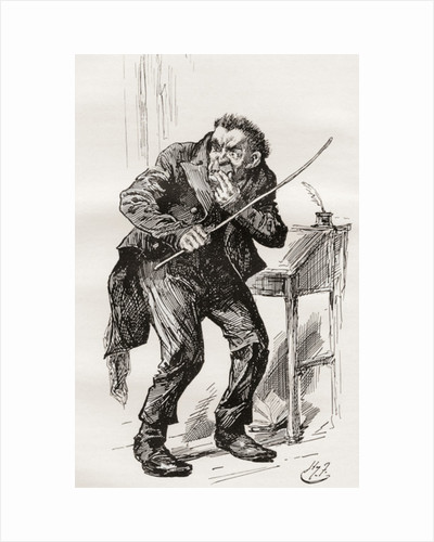 Mr. Squeers. Illustration by Harry Furniss for the Charles Dickens novel Nicholas Nickleby by Anonymous