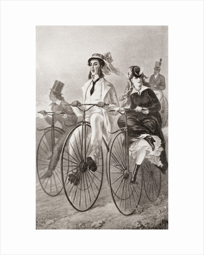 Two cyclists on Penny Farthing bicycles in the 19th century by Anonymous