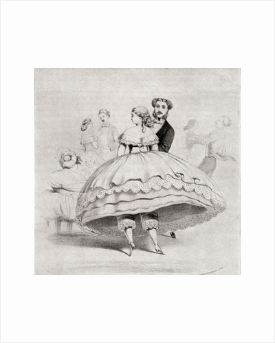 19th century lady arriving at a ball wearing a crinoline by Anonymous