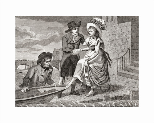 A young man hands a pretty young woman into a wherry which a young waterman, who is apparently standing in the water on the further side of the boat, holds against the landing-place. She raises her petticoats, the waterman stares at her legs by Anonymous
