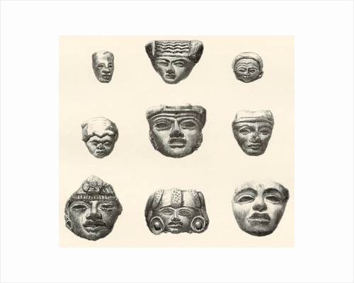 Stone heads and masks found at Teotihuacan, Mexico by Desiré Charnay by Spanish School