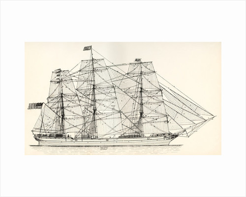 Sails and rigging of a mid-19th century clipper by Anonymous