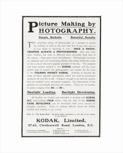 Early 20th century advertisement for photography using Kodak camera and film by Anonymous