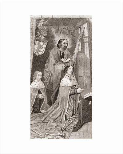 James III of Scotland, on his knees praying with his son the future James IV of Scotland by Anonymous