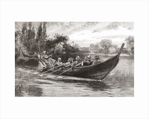 Edgar the Peaceful being rowed down the River Dee by eight kings during the symbolic coronation celebrating the culmination of his reign in 973 by Anonymous
