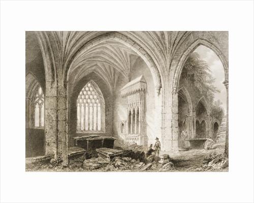 Interior of Holycross Abbey, County Tipperary, Ireland by William Henry Bartlett