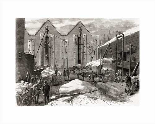 Carting the ice at Mr Charles' ice stores, Lindsey House, London by French School
