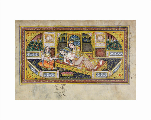 A man courts a woman in a boudoir scene, Rajasthani miniature painting by Indian School