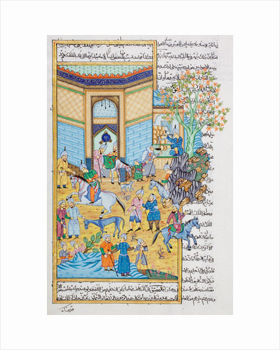 Stable scene, Rajasthani miniature painting by Indian School