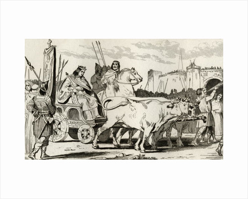 Clovis III (682-95) in a Chariot pulled by Oxen, with Pepin II of Herstal Riding Alongside Him by French School