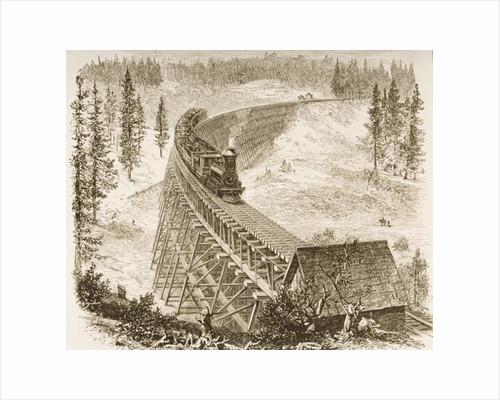 Trestle Bridge on the Pacific Railway, Sierra Nevada, c.1870 by English School
