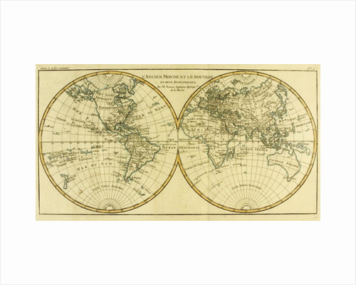 Map of the World in two Hemispheres by Charles Marie Rigobert Bonne