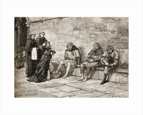 Thomas Becket washing the feet of beggars by English School