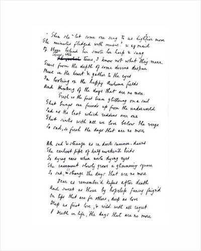 Original draft for the poem 'Tears Idle Tears', first published c.1847 by Alfred Lord Tennyson